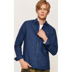 Koszula w drobny deseń - Niebieski. Szare koszule męskie marki House, l, z bawełny. Za 79,99 zł.