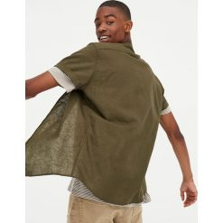 Lniana koszula z krótkim rękawem. Brązowe koszule męskie Pull&Bear, m, z krótkim rękawem. Za 62,90 zł.