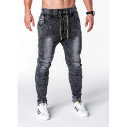 SPODNIE MĘSKIE JEANSOWE JOGGERY P652 - CZARNE. Czarne joggery męskie Ombre Clothing, z bawełny. Za 79,00 zł.