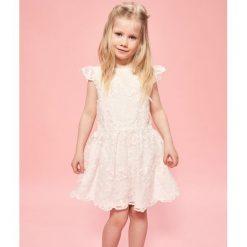 Sukienki niemowlęce: Biała sukienka z haftowanego tiulu – Kremowy