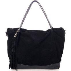 Shopper bag damskie: Skórzany shopper bag w kolorze czarnym - 50 x 35 x 15 cm