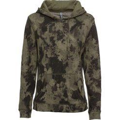 Bluza z kapturem i batikowym nadrukiem bonprix ciemnooliwkowy. Zielone bluzy rozpinane damskie bonprix, z nadrukiem, z kapturem. Za 89,99 zł.