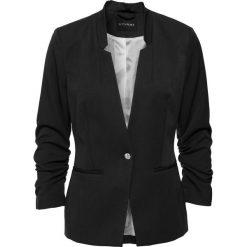 Żakiet z drapowanymi rękawami bonprix czarny. Brązowe marynarki i żakiety damskie marki bonprix. Za 139,99 zł.