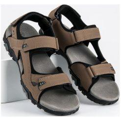 Sandały męskie: Brązowe sandały na rzepy american club