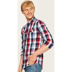 Koszula w kratę - Czerwony. Szare koszule męskie marki House, l, z bawełny. Za 79,99 zł.