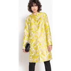 Płaszcze damskie pastelowe: Elegancki, żakardowy, długi płaszcz