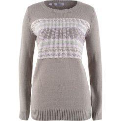 Swetry klasyczne damskie: Sweter, długi rękaw bonprix jasnoszary melanż