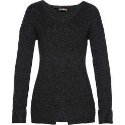 Sweter we wzór w warkocze bonprix antracytowy melanż. Szare swetry klasyczne damskie bonprix, z dzianiny. Za 59,99 zł.