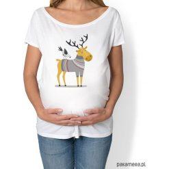 Bluzki ciążowe: koszulka damska, ciążowa z zimowym łosiem