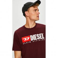 Diesel - T-shirt/polo T.JUST.DIVISION.0CATJ. Brązowe koszulki polo Diesel, l, z aplikacjami, z dzianiny. Za 279,90 zł.