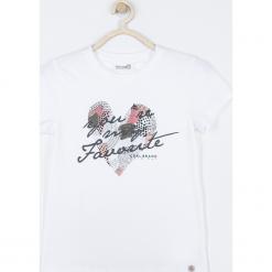 Koszulka. Białe bluzki dziewczęce bawełniane FAVORITE, z aplikacjami, z krótkim rękawem. Za 45,90 zł.