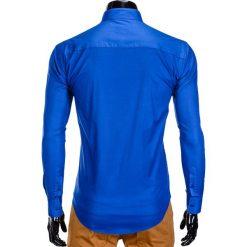 KOSZULA MĘSKA ELEGANCKA Z DŁUGIM RĘKAWEM K307 - NIEBIESKA. Brązowe koszule męskie na spinki marki Ombre Clothing, m, z aplikacjami, z kontrastowym kołnierzykiem, z długim rękawem. Za 59,00 zł.