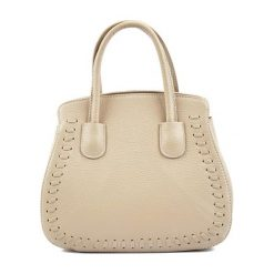 Torebki klasyczne damskie: Skórzana torebka w kolorze beżowym – (S)29 x (W)26 x (G)13,5 cm