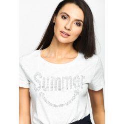 Jasnoszary T-shirt Summertime. Szare t-shirty damskie Born2be, l, z aplikacjami, z okrągłym kołnierzem. Za 54,99 zł.