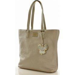 Wygodna torebka shopper bag z motylkiem szara EMILIA. Brązowe shopper bag damskie marki Monnari, w paski, z materiału, średnie. Za 159,00 zł.