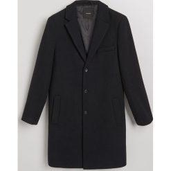 Płaszcz z wełną - Granatowy. Niebieskie płaszcze na zamek męskie Reserved, l, z wełny. Za 499,99 zł.