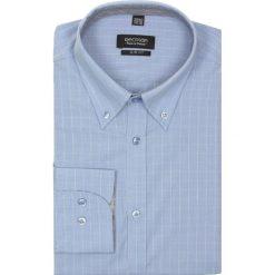 Koszula croft 2064 długi rękaw slim fit niebieski. Niebieskie koszule męskie jeansowe Recman, m, w kratkę, button down, z długim rękawem. Za 29,99 zł.