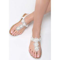 Białe Sandały Peaceful Mind. Białe sandały damskie marki Born2be, z materiału, na obcasie. Za 69,99 zł.