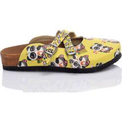 Chodaki damskie: Klapki w kolorze żółtym ze wzorem
