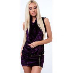 Sukienka z gniecionego weluru fiolet 4881. Szare sukienki Fasardi, m, z weluru. Za 59,00 zł.