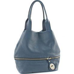 Torebki klasyczne damskie: Skórzana torebka w kolorze niebieskim – (G)19 cm
