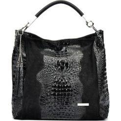 Torebki klasyczne damskie: Skórzana torebka w kolorze czarnym – 35 x 50 x 14 cm