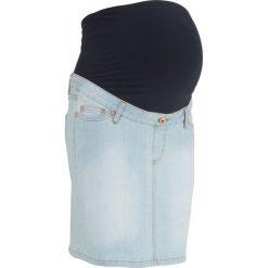 """Spódnica ciążowa dżinsowa """"super-stretch"""" bonprix jasnoniebieski """"bleached"""". Niebieskie spódnice ciążowe marki bonprix, w paski, z materiału, moda ciążowa. Za 59,99 zł."""
