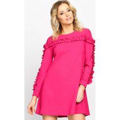 Fuksjowa Sukienka Ruffle Sleeves. Różowe długie sukienki marki Born2be, s, z falbankami, z długim rękawem, rozkloszowane. Za 29,99 zł.