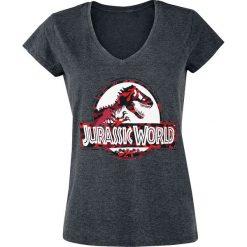 Jurassic Park Jurassic World - Logo - Camouflage Koszulka damska odcienie ciemnoszarego. Szare bluzki asymetryczne Jurassic Park, xl, z nadrukiem. Za 62,90 zł.