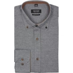 Koszule męskie na spinki: koszula bexley 2332 długi rękaw custom fit szary