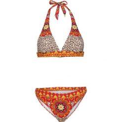Bikini z ramiączkami wiązanymi na szyi (2 części) bonprix czerwono-pomarańczowy z nadrukiem. Brązowe bikini bonprix, z nadrukiem. Za 89,99 zł.