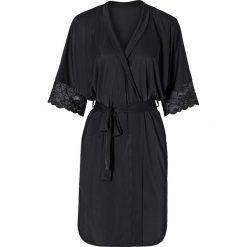 Szlafrok kimono bonprix czarny. Czarne szlafroki kimona damskie bonprix, z satyny. Za 89,99 zł.
