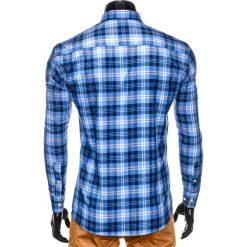 KOSZULA MĘSKA W KRATĘ Z DŁUGIM RĘKAWEM K405 - BŁĘKITNA. Brązowe koszule męskie na spinki marki Ombre Clothing, m, z aplikacjami, z kontrastowym kołnierzykiem, z długim rękawem. Za 49,00 zł.