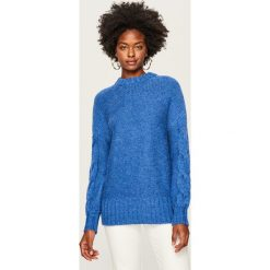 Sweter z ozdobnymi rękawami - Niebieski. Białe swetry klasyczne damskie marki Reserved, l, z dzianiny. Za 89,99 zł.