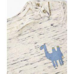 Mango Kids - T-shirt dziecięcy Brujula 80-104 cm. Szare t-shirty chłopięce z nadrukiem marki Mango Kids, z dzianiny, z okrągłym kołnierzem. W wyprzedaży za 29,90 zł.