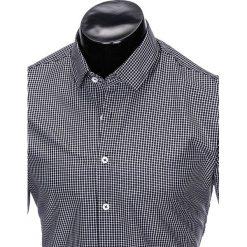 KOSZULA MĘSKA W KRATĘ Z DŁUGIM RĘKAWEM K426 - CZARNA/BIAŁA. Brązowe koszule męskie marki Ombre Clothing, m, z aplikacjami, z kontrastowym kołnierzykiem, z długim rękawem. Za 49,00 zł.