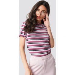 T-shirty damskie: NA-KD Trend T-shirt w paski - Purple