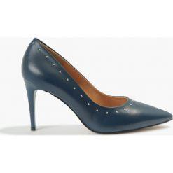 Czółenka granatowe. Niebieskie buty ślubne damskie Badura. Za 255,99 zł.