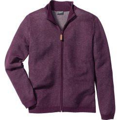 Sweter rozpinany ze stójką Regular Fit bonprix jeżynowy melanż. Fioletowe kardigany męskie marki bonprix, m, z haftami, ze stójką. Za 44,99 zł.