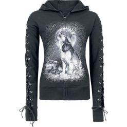 Bluzy rozpinane damskie: Spiral White Wolf Bluza z kapturem rozpinana damska czarny