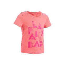 Koszulka krótki rękaw 100. Szare bluzki dziewczęce z krótkim rękawem marki DOMYOS, z elastanu, z kapturem. Za 14,99 zł.