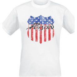 Poison American Badge T-Shirt biały. Białe t-shirty męskie Poison, m. Za 54,90 zł.