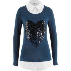 Sweter 2 w 1 z koszulową wstawką, długi rękaw bonprix ciemnoniebieski. Niebieskie swetry klasyczne damskie bonprix, z koszulowym kołnierzykiem. Za 109,99 zł.