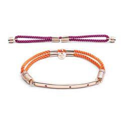 Bransoletki damskie: Zestaw: bransoletka w kolorze różowego złota z rubinami + wymienny element (2 szt)