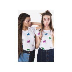 T-shirty damskie: T-shirt girl Pug & frenchie Glitter