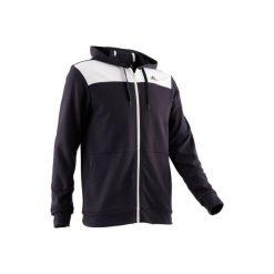 Bluza na zamek z kapturem Gym & Pilates 500 męska. Czarne bluzy męskie rozpinane marki Adidas, l, z bawełny, z kapturem. Za 169,99 zł.