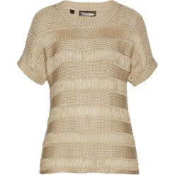 Swetry klasyczne damskie: Sweter ażurowy bonprix piaskowo-złoty