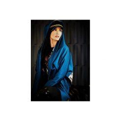 Płaszcze damskie pastelowe: NIEBIESKI PŁASZCZ Z KORONKĄ I MOTYWEM CHERUBINKA