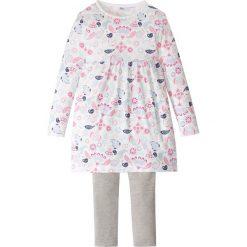 Sukienka + legginsy (2 części) bonprix biel wełny - jasnoszary melanż. Białe legginsy dziewczęce marki FOUGANZA, z bawełny. Za 32,99 zł.
