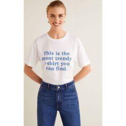 Mango - Top Fashion. Szare topy damskie Mango, l, z nadrukiem, z bawełny, z okrągłym kołnierzem. Za 49,90 zł.